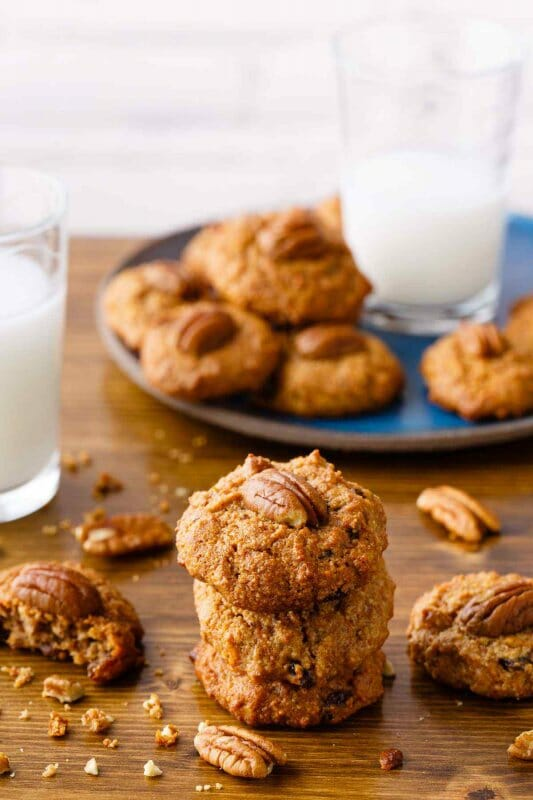 Carrot cake cookies are an incredibly yummy paleo snack that use the perfect combination of ingredients to make cookies with the same texture and flavor as a carrot cake. This recipe makes them even tastier by adding cinnamon and raisins as well.
