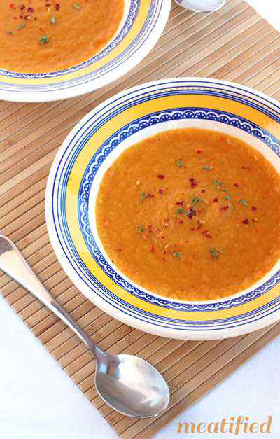 Sweet Potato Soup with Bell Peppers, Lemon and Thyme
