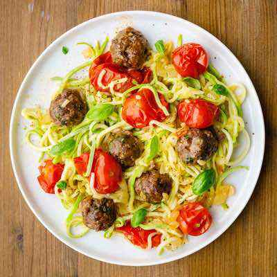 One Sheet Paleo Meatballs with Roasted Tomatoes