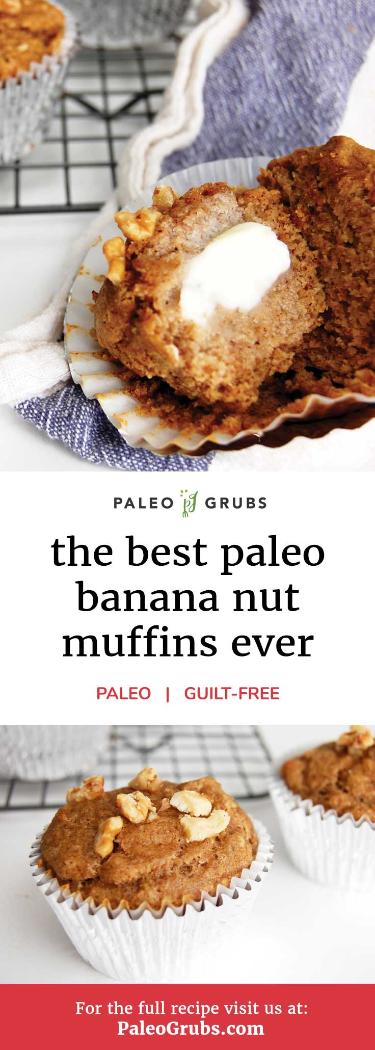 The Best Paleo Banana Nut Muffins Ever- these are SO good!