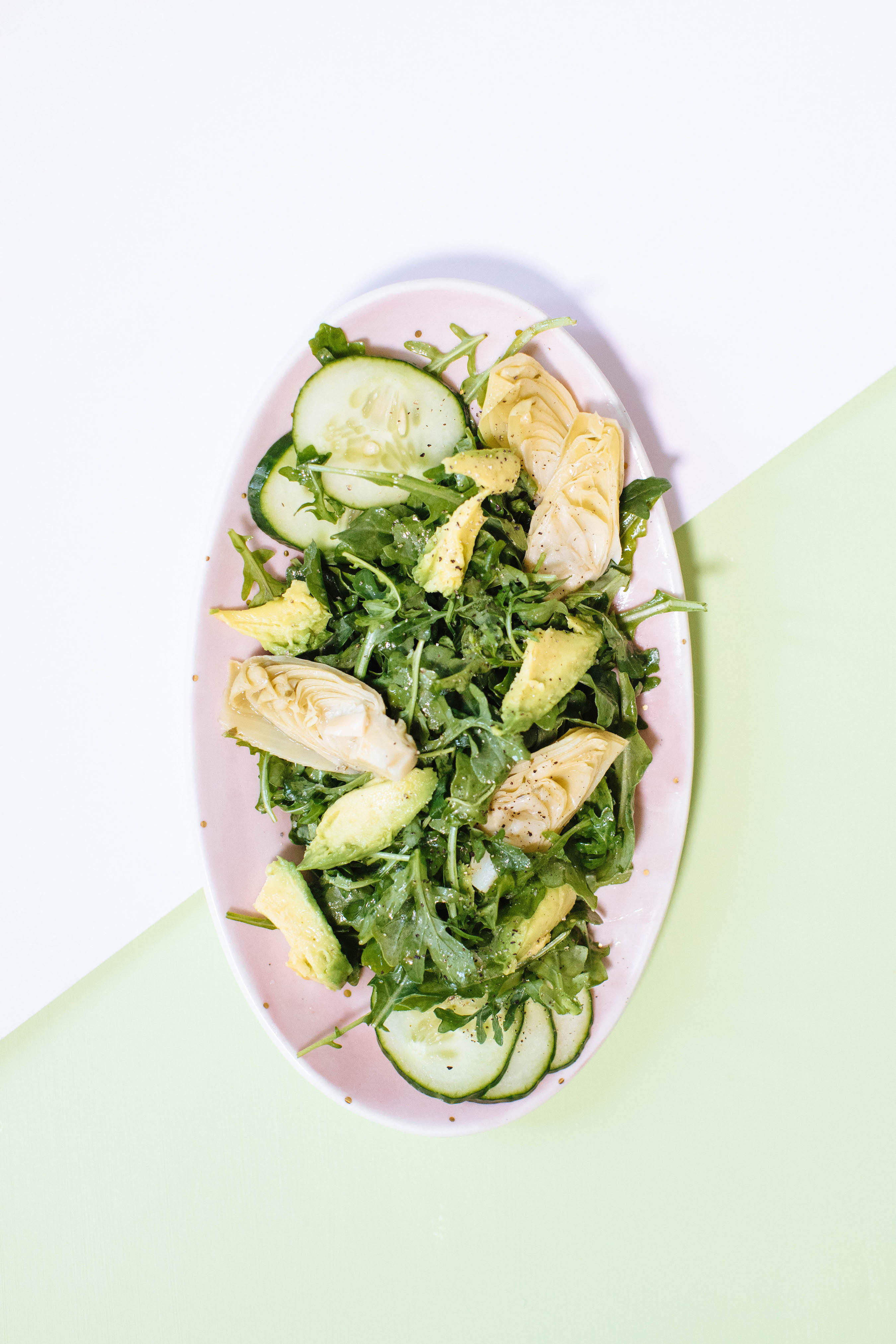Healthy Artichoke Arugula Spinach Salad | Nutrition Stripped